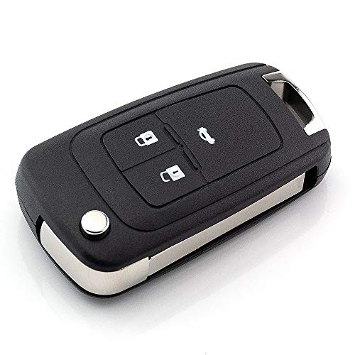 3 Tasten Ersatz Klappschlüssel Gehäuse mit Rohling kompatibel mit Opel Adam Ampera Astra Cascada Corsa Insignia Vectra Zafira C etc. Funk Fernbedienung