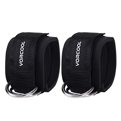 VORCOOL 2 stücke Sport Fesselgurte Padded D-Ring Fußmanschetten für Gym Workouts Kabel Maschinen Bein Übungen mit Tragetasche (schwarz)