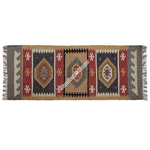 Handicraft Bazarr Alfombra de 2,5 x 6 pies para decoración del hogar, alfombra de yute, alfombra de yute decorativa, alfombra hippie Kilim, pasillo, alfombra de yute
