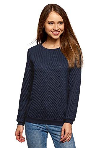 oodji Ultra Damen Gerades Sweatshirt aus Strukturiertem Stoff, Blau, DE 32 / EU 34 / XXS