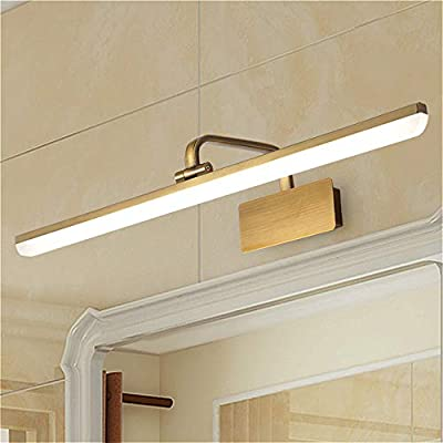 SUSUO Adjustable Bathroom Vanity Light with Swivel Lamp Head,Long Shade Makeup Light LED Neutral Acrylic Wall Sconce Modern LED Vanity Lights for Mirror,Antique Brass Finish