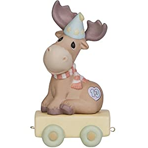Precious Moments, You Mean The Moose To Me, Birthday Train Age 13, Bisque Porcelain Figurine, 142033