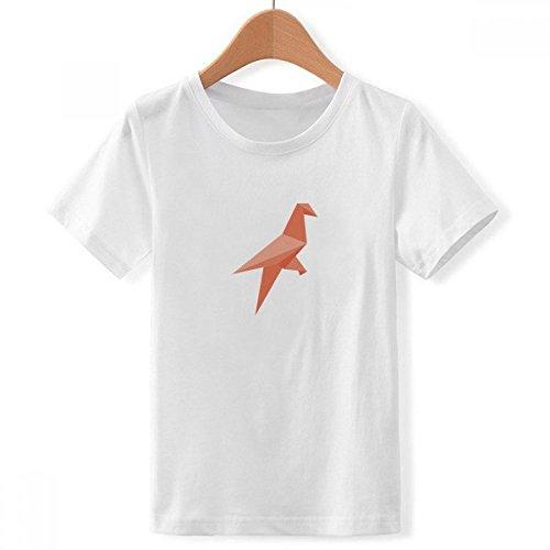 DIYthinker Pájaro patrón de Origami Abstracta con Cuello Redondo de la Camiseta para Chico X-Grande