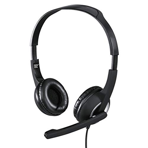 Hama PC Headset mit Mikrofon (ultra leichte Kopfhörer, On-Ear Ohrhörer, gepolsterte Ohrmuscheln, Stereo, Computer-Kopfhörer mit Lautstärkeregler am Kabel, 2 m Kabellänge, 3,5 mm Klinke) schwarz