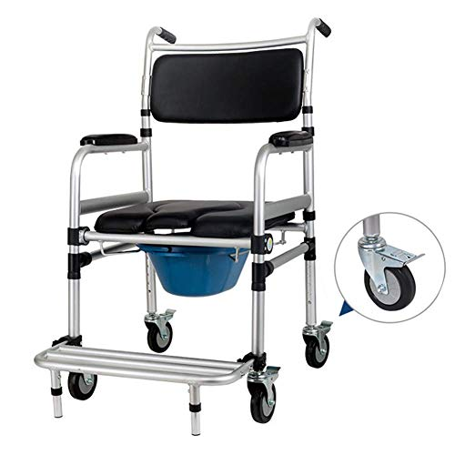 Folding Shower Chair and Commode with Casters Wheels, Aluminum Bedside Commode, Adjustable Height, Loadable 400Lb
