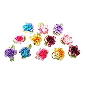 PET SHOW Flowers Pet Dog Hair Bows W/Rubber Bands Cat Puppy Grooming Accessories Assorted Color Pack of 50