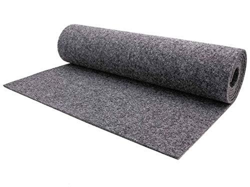 Nadelfilz Meterware TURBO B1 – Grau, 2,00m x 1,00m, Robuster, Trittschalldämmender Teppich Bodenbelag für Wohn- und Büroräume
