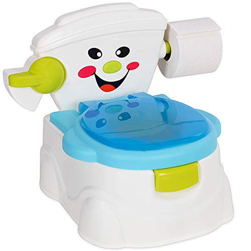 Kids Toilet Potty Trainer Training Seat with Splash Guard - Lightweight & Portable Great for Travel - Fun Way to Encourage Practice for Toddler Baby Children (Blue)