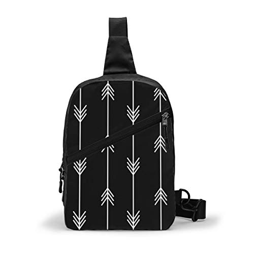 Bold Black And White Arrow Pattern Chest Package Multipurpose Crossbody Outdoor Shoulder Bag Daypack Sling Backpack Large Capacity Casual Sport Rucksack for Hiking Travel Sport