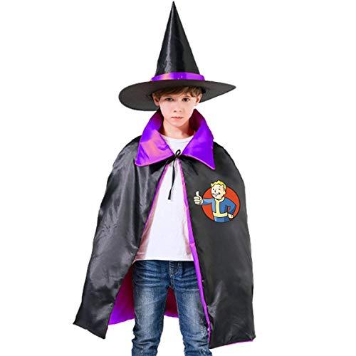 NUJSHF Fallout Vault Boy 2 Unisex Kinder Kapuzenumhang Umhang Cape Halloween Party Dekoration Rolle Cosplay Kostüme Outwear