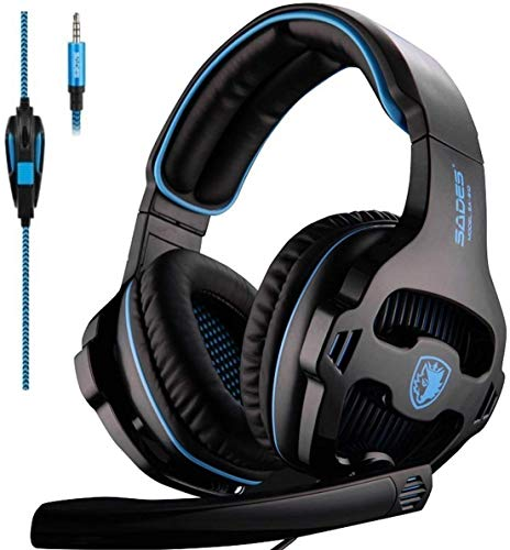 SADES Gaming Headset for Xbox One,PS4, PC Headphones with Microphone LED Light Mic for Nintendo Switch Playstation Computer, (Black)
