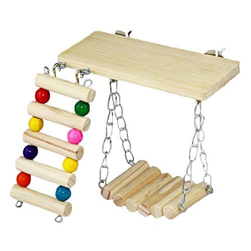 Chinchilla-Käfig-Zubehör   Packung mit 3 hölzernen Papageien-Krabbelleitern, lustige Schaukel-Plattform, Spielzeug-Set für Chinchilla, Eichhörnchen, niederländisches Schwein