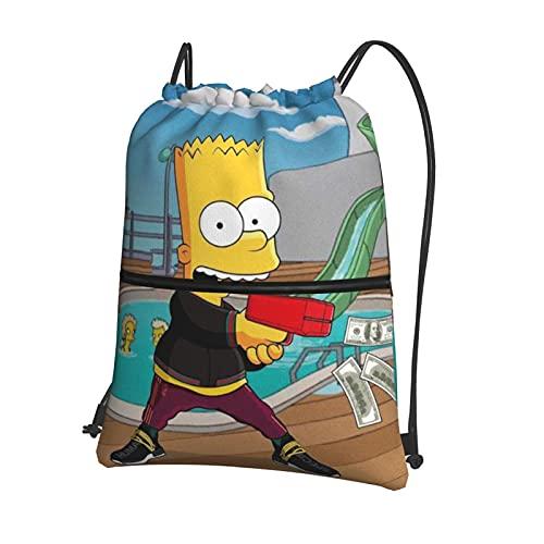 Simpsons - Zaino a doppia spalla con coulisse e tasca laterale con cerniera, impermeabile e resistente, leggero e portatile