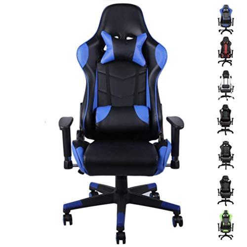 Gaming Stuhl, Racing Stuhl, Bürostuh mit Kopfstütze und Lendenkissen, höhenverstellbar, bis 150 kg belastbar (Blau)