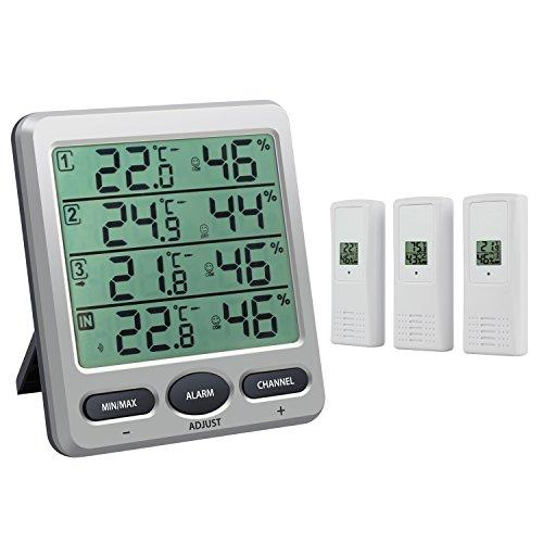 Neoteck Termómetro Higrómetro con 3 Sensores Remotos LCD Termómetro/Higrómetro Interior con Función de Alarma para la Gestión del Aire Acondicionado Oficina Habitación de Hotel Laboratorio Hospital