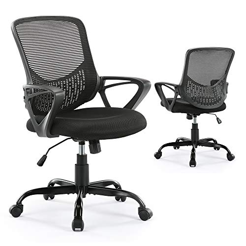 Office Chair Ergonomic Desk Chair Mesh Computer Task Chair with Lumbar Support Armrest for Home Office Conference Study Room, Dark Black