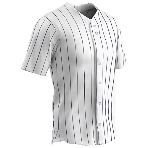 CHAMPRO Ace Polyester Button Front Baseball Jersey, Youth X-Large, White, Navy Pin