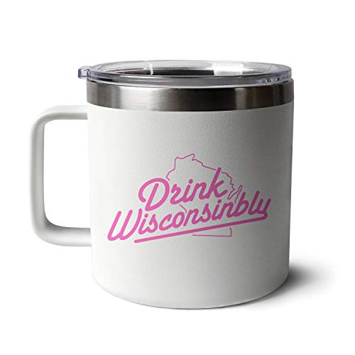 for Unisex Lightweight and Portable Wisconsinbly-In-breast-cancer Coffee Cups Tumbler Insulated Stainless Steel with Handle Coffee Tea Cup Small Capacity 14 Oz Funny Tumbler Coffee Mug the Best Gift