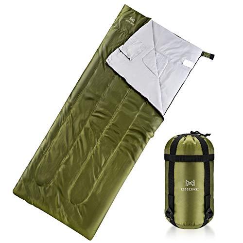 OMORC Saco de Dormir, Saco Dormir Profesional para Acampada, 200 * 83CM, Impermeable con Bolsa de Compresión, Ultra Ligero, 3 Estaciones, 15℃-30℃, Ideal para Acampada y Excursiones