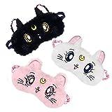 Cat Sleep Eye Mask 3 Pack, Soft Plush Eye Mask Blindfold Eye Shade Cover Sailor Moon Sleep Mask Travel Nap Night Sleeping