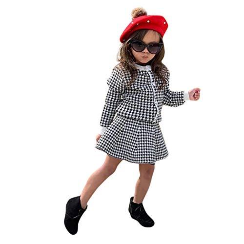 Hahuha Kinderbekleidung,Kleinkind Kinder Baby Mädchen verdicken Plaid Mantel Jacke Röcke Outfits Kleidung Set