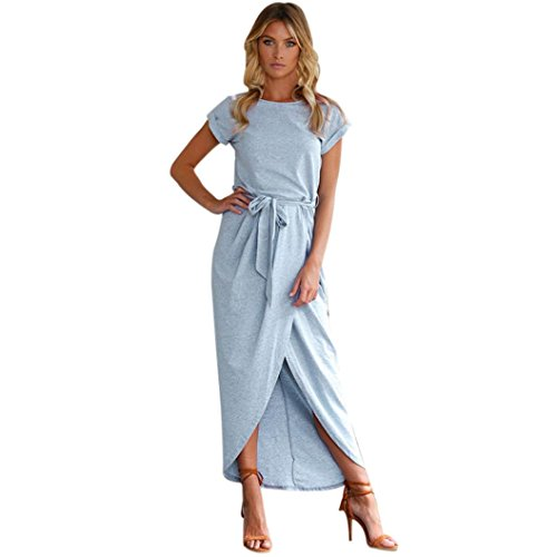 Jurken dames Dasongff zomerjurk dames korte mouwen avondjurk elegante jurk lang strandjurk feestjurk Boho Long Maxi jurk effen zomerjurk