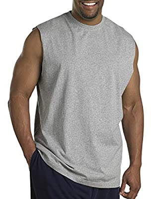 Harbor Bay by DXL Big and Tall Wicking Jersey Muscle T-Shirt, Grey Heather 7XLTall
