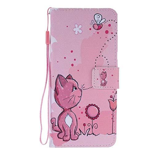 Miagon Flip PU Leder Schutzhülle für iPhone XR,Bunt Muster Hülle Brieftasche Case Cover Ständer mit Kartenfächer Trageschlaufe,Katze Biene