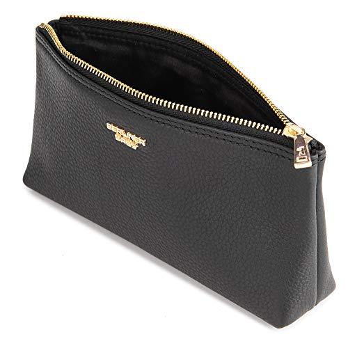 Berliner Bags Premium Kosmetiktasche Anna Gold aus Leder mit Reißverschluss für Frauen und Mädchen Schwarz Klein
