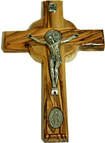 Celtic and Saint Benedict and Miraculous Medal Holy Land Handmade Wall Wood Cross Crucifix Silver Tone (6.5 Inches)