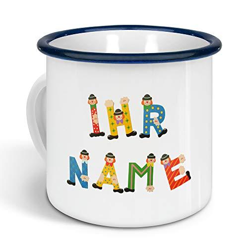 printplanet - Emaille-Tasse klein mit Namen personalisiert - Motiv Holzbuchstaben - Nostalgie-Becher, Camping-Tasse, Blechtasse, Farbe Blau, 300ml