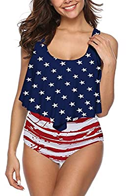 DUOSTICK Womens Plus Size Two Piece Swimwear Retro Swimsuit - XL,American Flag