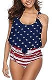 SouqFone Flattering Plus Size Bathing Suit for Women Bikini - 2XL,American Flag