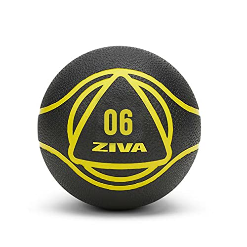 ZIVA Essentials Balon Medicinal, Pelota Fitness, Adultos Unisex, Negro Amarillo, 6 kg