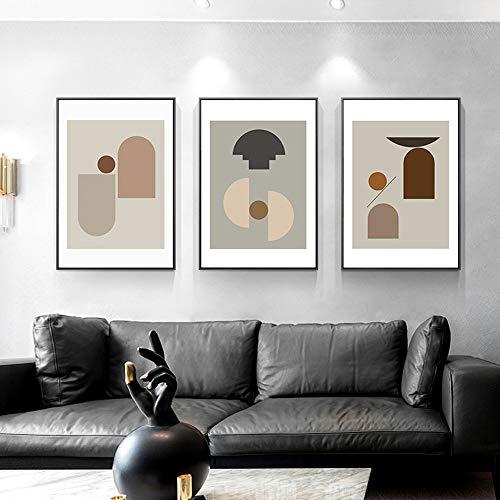 MGWA Wall Mural 3 Unids/Set Nórdico Moderno Minimalista Decoración Geométrica Pintura Oro Marco Marco Pintura Pintura Mural Dormitorio Casa Sala De Estar Sofá HD Micro Spray