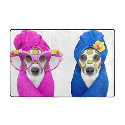 MAYUES Alfombra de baño,Jack Russell Par de Perros de Belleza Relajante en el SPA Centro de Bienestar Crema hidratante y Pepino,Alfombra de baño Antideslizante Alfombra