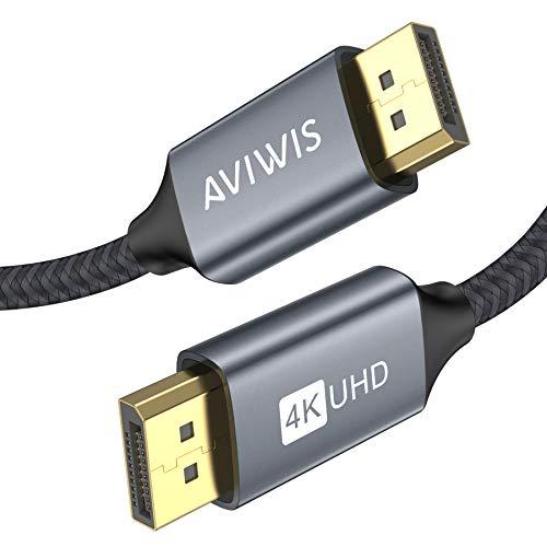 AVIWIS 4K DisplayPort Kabel 2M, DP Kabel (4K@60Hz, 2K@144Hz), DisplayPort auf DisplayPort Kabel, Nylon Geflecht Ultra Highspeed DP zu DP Kabel Kompatibel mit PC/TV/Beamer/Monitor/Grafikkarten