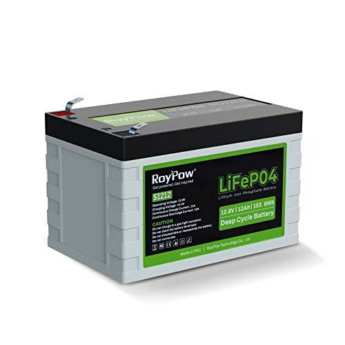RoyPow Batería de Litio de 12 V y 12 Ah de fosfato de Hierro de 3500 ciclos de LiFePO4 Recargable con Ciclo Profundo de Repuesto FiOS para SLA batería para RV/caravanas, niños y buscador de Peces