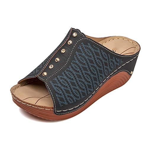 OJBK Sandalias para Mujeres Sandalias De Cuña para Caminar Chanclas De Playa De Verano Gladiador De Puntera Abierta Zapatillas De Exterior Deslizantes,Negro,37