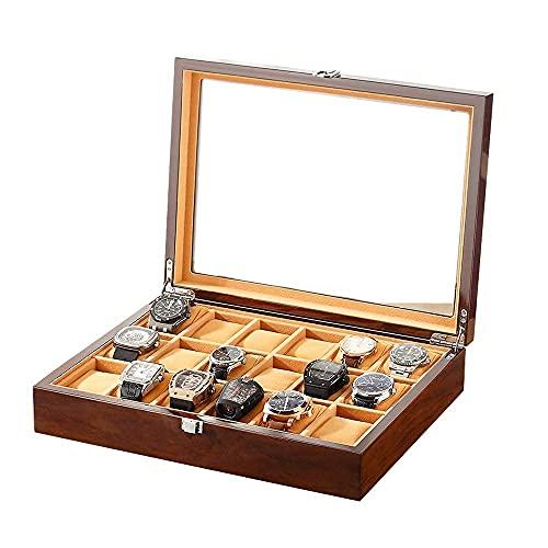 JIANGCJ Bella 18 Slot Watch Box Organizer Joyas y Relojes Mostrar Estuches de Almacenamiento Casos de Almacenamiento para el Reloj de Pulsera Tapa de Madera de la Tapa de acrílico Grande