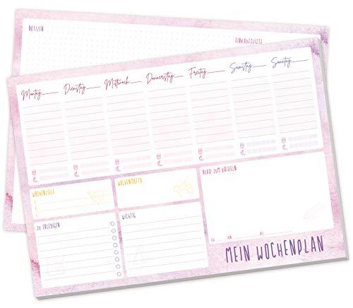Wochenplaner Block A4 ohne festes Datum, 50 Blatt | Terminplaner mit To-Do-Liste, Einkaufsliste, großem Notizfeld und vielem mehr - von Trendstuff by Häfft | klimaneutral & nachhaltig