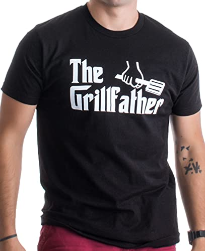 The Grillfather   Funny Dad Grandpa Grilling BBQ Meat Humor T-Shirt Joke for Men - (Adult,3XL) Black