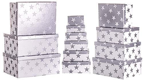 Brandsseller Caja de regalo de cartón con tapa – Caja de cartón estable – Juego de 13 en tamaño descendente – Estrellas / Plata