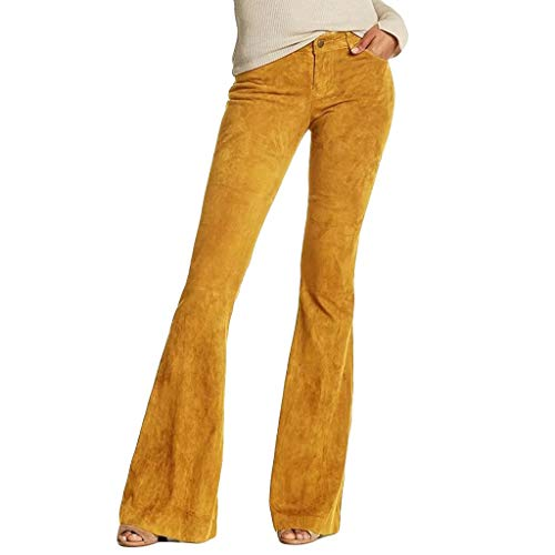 Lazapa Casual Pants for Women, Fall Winter Stretch Slim Tassel Corduroy Flare Jeans Button Zipper High Waist Bell Bottom Yellow
