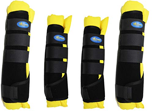 Professional Equine Horse 4-Pack Leg Care Stable Shipping Neoprene Boot Wraps Yellow 4120YL