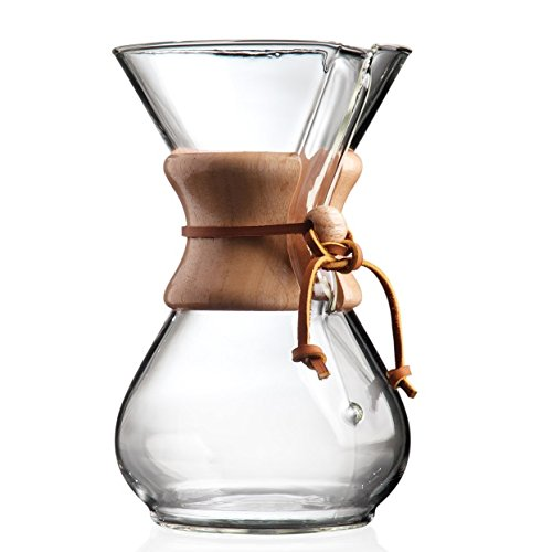 the Chemex and drip coffee on a wooden surface