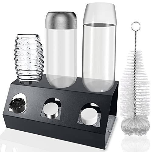 GUSUWU Escurridor de acero inoxidable para botellas de cristal y soda, con bandeja de goteo extraíble y soporte de tapa + cepillo de soda