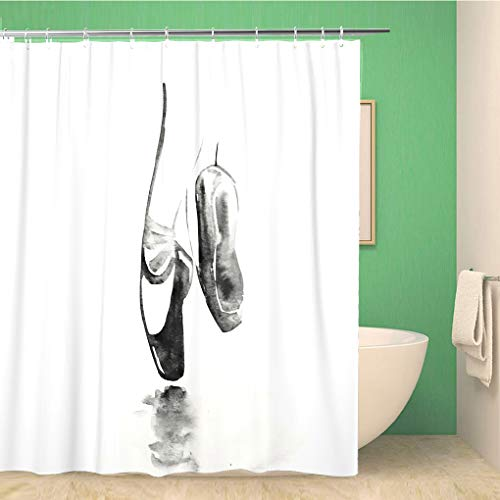 Awowee Decor Duschvorhang Ballett Aquarell Schwarz Ballerina Schuh Tanzen Skizze Mädchen Frau 180 x 180 cm Polyester Stoff Wasserdicht Badvorhänge Set mit Haken für Badezimmer
