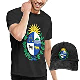 sunminey Homme T- T-Shirt Polos et Chemises Men's Coat of Arms of Uruguay National Emblem T-Shirts Pullover with Cowboy Cap