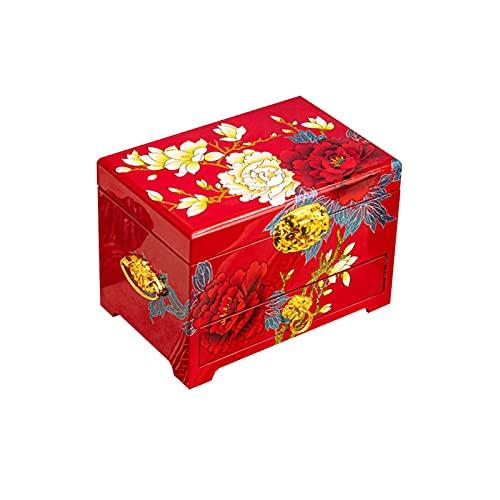 Ownlife Cajas de joyería y organizadores Madera Joyería China Caja de Pecho con 1 cajones for Anillos, Pendientes, Collar Caja de Almacenamiento for Mujeres, niñas (Color : B)